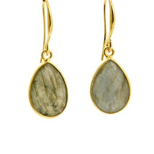 LILLY LILLY Oorbellen   Precious Drop Medium  Gold   Labradoriet   14 Karaats