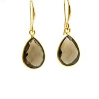 LILLY LILLY Oorbellen | Precious Drop Medium Gold | Smokey Quartz | 14 Karaats