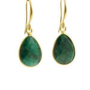 LILLY LILLY Oorbellen | Precious Drop Medium  Gold | Emerald Green | 14 Karaats