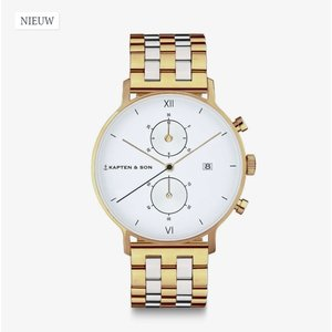KAPTEN & SON KAPTEN & SON Horloge | CHRONO | GOLD | BICOLOR | 40 MM