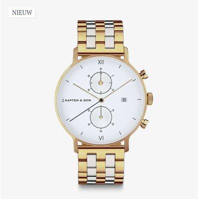 KAPTEN & SON KAPTEN & SON Horloge | CHRONO | GOLD | BICOLOR | 40 MM