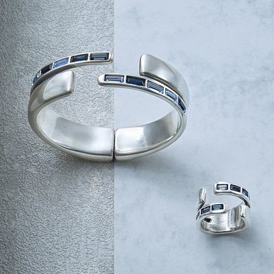 UNOde50 UNOde50 Ring | NIGHTBIRD WRAP | Zilver | Blauw | JAPAN | ANI0621MTLAZU00