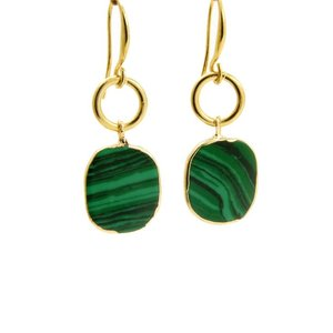 LILLY LILLY Oorbellen | Ring Oval Goldstone | Emerald Green | 14 Karaats