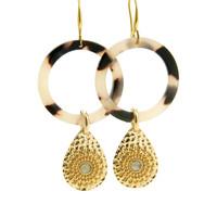 LILLY LILLY Oorbellen | Acryl Circle Drop de Luxe | Gold | 18 Karaats
