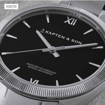 KAPTEN & SON KAPTEN & SON Horloge | CRUSH | SILVER BLACK STEEL | 36 MM