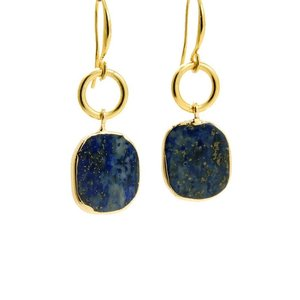 LILLY LILLY Oorbellen | Ring Oval Goldstone | Lapis Lazuli | 14 Karaats