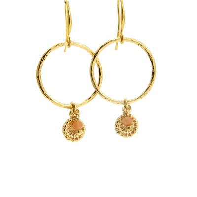 LILLY LILLY Oorbellen | Ring L Mini Pointcharm Bead | Gold | Maansteen | 18 Karaats