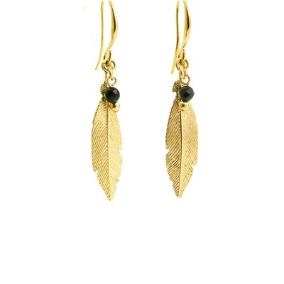 LILLY LILLY Oorbellen | Feather Bead Gold | Onyx | 18 Karaats