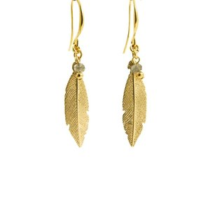 LILLY LILLY Oorbellen | Feather Bead Gold | Labradoriet | 18 Karaats