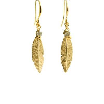LILLY LILLY Oorbellen   Feather Bead Gold   Labradoriet   18 Karaats