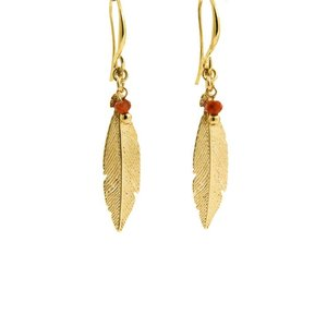 LILLY LILLY Oorbellen | Feather Bead Gold | Carneool | 18 Karaats
