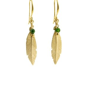 LILLY LILLY Oorbellen | Feather Bead Gold | Jade Groen | 18 Karaats