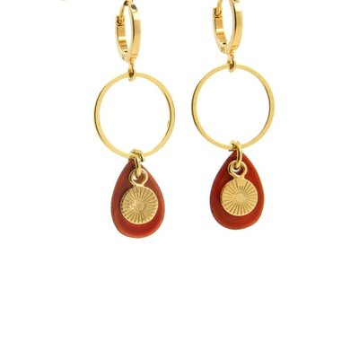 LILLY LILLY Oorbellen | Ring Shell Mini Suncharm Gold Red | 18 Karaats