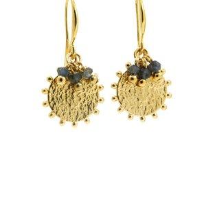 LILLY LILLY Oorbellen |  Pointsun Bunch Gold | Sapphire Blue | 18 Karaats