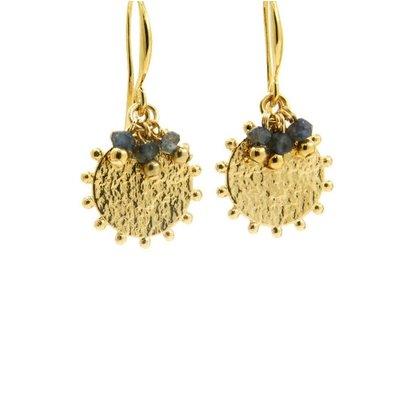 LILLY LILLY Oorbellen |  Pointsun Bunch Gold | Sapphire Blue| 18 Karaats