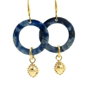 LILLY LILLY Oorbellen |  Acryl Circle M Indian Charm Gold | Blue | 18 Karaats