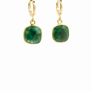 LILLY LILLY Oorbellen | Square Stone Lapi Gold | Emerald Green | 18 Karaats