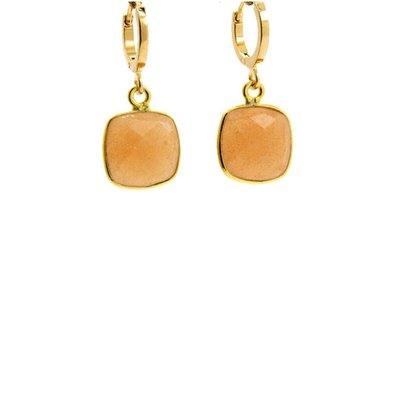 LILLY LILLY Oorbellen | Square Stone Lapi Gold | Maansteen | 18 Karaats