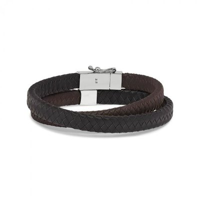 SILK Jewellery SILK Armband | 258BBR Armband Alpha  | Zilver | Zwart Bruin Leer