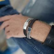 SILK Jewellery SILK Armband | 214BBR ARMBAND | ZILVER | ZWART-BRUIN