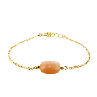LILLY LILLY Armband | Precious Square Stone Gold | Maansteen | 14 Karaats