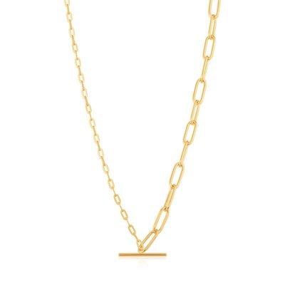 ANIA HAIE ANIA HAIE Necklace | MIXED LINK T-BAR | GOLD | N021-02G
