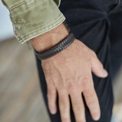 SILK Jewellery SILK Armband | 811BBR Armband Leather | Zilver | Leer | Zwart Bruin | 21 cm