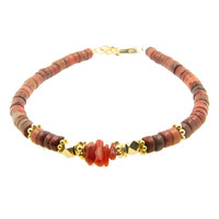 LILLY LILLY Armband | Big Beads Indian Style Gold | Red