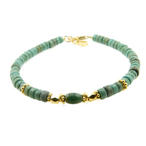 LILLY LILLY Armband | Big Beads Indian Style | Verguld  | Green