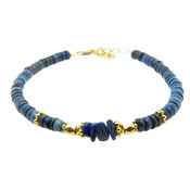 LILLY LILLY Armband | Big Beads Indian Style Gold | Blue