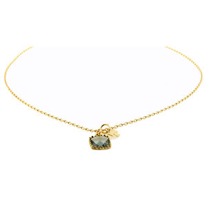 LILLY LILLY Ketting | Square Crystal Clover | Verguld | Grey
