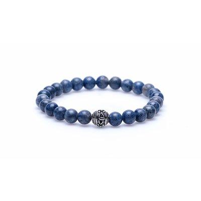 KARMA Jewelry KARMA Armband | Blue Coral silver round logo bead | 86270