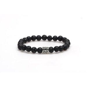 KARMA Jewelry KARMA Armband | Black Rocks silver logo bead