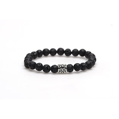 KARMA Jewelry KARMA Armband | Black Rocks silver logo bead | 86305