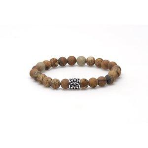 KARMA Jewelry KARMA Armband | Woodcraft matt silver logo bead