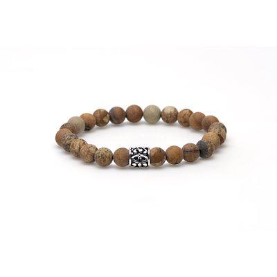 KARMA Jewelry KARMA Armband   Woodcraft matt silver logo bead   86421