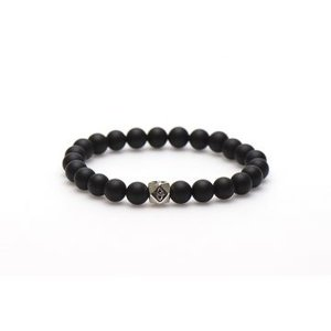KARMA Jewelry KARMA Armband | Black to Black Silver Square Bead