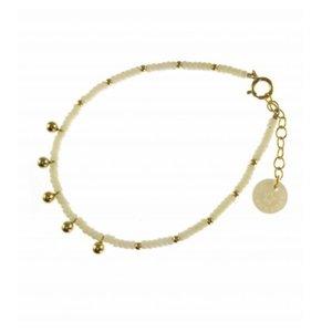 BLINCKSTAR BLINCKSTAR Armband | Gold Filled | Ball Drop | Wit | SS20