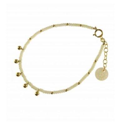 BLINCKSTAR BLINCKSTAR Armband | Gold Filled | Ball Drop | Wit | SS20  | 2001A65