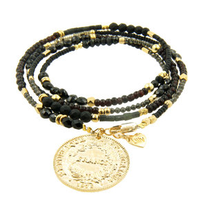 LILLY LILLY Armband | Summer Beads Big Franc Gold | Black