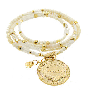 LILLY LILLY Armband | Summer Beads Big Franc Gold | White