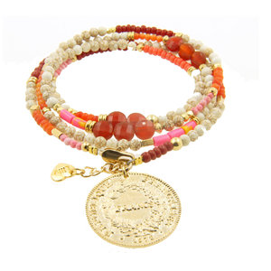 LILLY LILLY Armband | Summer Beads Big Franc Gold | Red
