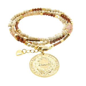 LILLY LILLY Armband | Summer Beads Big Franc Gold | Brown