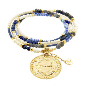 LILLY LILLY Armband | Summer Beads Big Franc Gold | Blue