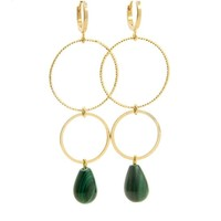 LILLY LILLY Oorbellen | Ringsister Stone Gold | Emerald Green  | 14 Karaats