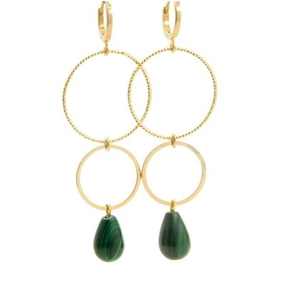LILLY ILLY Oorbellen | Ringsister Stone Gold | Emerald Green  | 14 Karaats