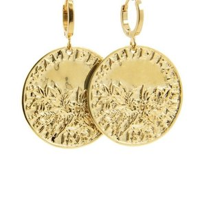 LILLY LILLY Oorbellen |  Big Coin Egaliter France | Gold | 18 Karaats