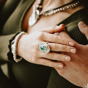 UNOde50 UNOde50 Ring | TEOTL | Zilver | Kristal | Green