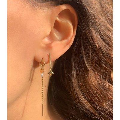MIAB Jewels MIAB Oorbellen | Goud | Thin Line O Pearl | 14k Goud Vermeil