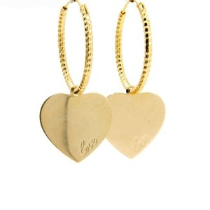 LILLY LILLY Oorbellen | Creole Hammered Love Heart | Gold | 18 Karaats